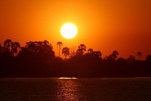 Sunset Zambezi river, Victoria Falls, Zimbabwe.