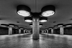 Underground (laga2001) Tags: underground tube transport station black white monochrome bw contrast columns light shadow urban city lamp tiles berlin germany europe