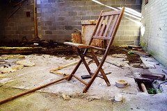 Abandoned Chair (jna.rose) Tags: abandoned chair factory urbandecay urbanexploration wood brick texture light pipe ground debris nikon photography d5300 forgotten neglected derelict ruins industrial