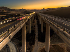Driving towards the Sun (mcalma68) Tags: highway viaduct sunset sicily palermo catania a19 autostrada bridge speed cars mountains high angle aerial drone dji phantom 4 landscape symmetry