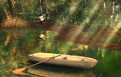 Peace - 09/2017 (IvoryBouscario) Tags: water sl secondlife virtual photo nature picture birds boat rowboat