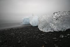 Diamond Gloom (courtney_meier) Tags: diamondbeach iceland beach blacksandbeach clouds evening fog gloom ice iceberg icebergs northatlantic summer