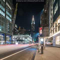 42nd Street (20170916-DSC00036-Edit) (Michael.Lee.Pics.NYC) Tags: newyork 42ndstreet onevanderbilt grandcentralterminal chryslerbuilding lighttrail traffictrail night longexposure square architecture cityscape construction crane streetscene sony a7rm2 voigtlanderheliar15mmf45