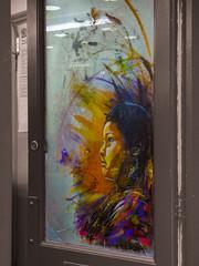 Interior Paint (Steve Taylor (Photography)) Tags: art portrait painting graffiti mural streetart office door window selectivecolour girl woman uk gb england greatbritain unitedkingdom london c215