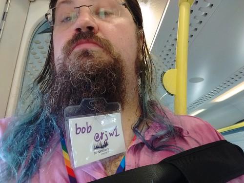 my @DevOpsDaysLDN badge in my #beard #devopsdays