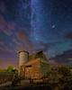 "Old barn under a starry night sky (IronRodArt - Royce Bair (""Star Shooter"")) Tags: oldbarn vintagebarn barn silo starrynightsky night stars milkyway nightsky nightscape idaho saintcharles stcharles keetchfamily ruralfarm"