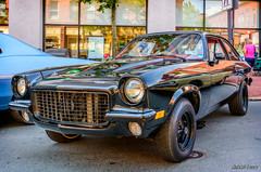 1976 Chevrolet Vega (kenmojr) Tags: 2017 antique atlanticnationals auto car classic moncton newbrunswick show vehicle vintage centennialpark downtown kenmo kenmorris carshow 1976 chevy chevrolet vega black