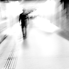 Dream of the 21st Century Schizoid Man (cresting_wave) Tags: iphoneography mobileography iphonephotography mobilephotography streetphotography iphone7plus procamera snapseed people man blackwhite monochrome intentionalcameramovement motionblur boats silhouette abstract
