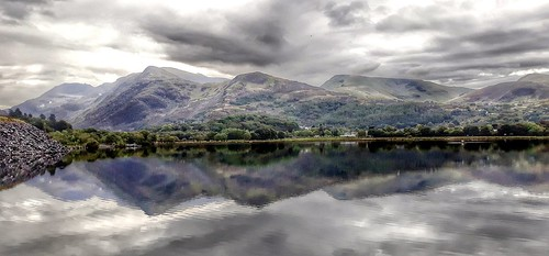 Snowdonia mountains  reflection in padarn lake.