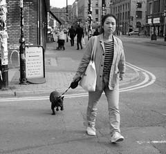 walkies (LozHudson) Tags: manchester fujifilm fujix100s northernquarter walk dog street streetphotography monochrome blackwhite