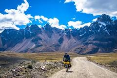 Andrew cycling along the Puya Raimondi route outside Huarez.