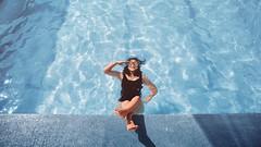 384 Monochrome - Blue (Katrina Yu) Tags: colorselfportrait pool water woman swim light 2017 365project