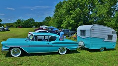 1958 Chevrolet Biscayne Pulling a Vintage Camping Trailer (chumlee10) Tags: drag chevy chevrolet car show blue trailer byron camper oglecounty drags vintage