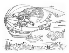 Pirate Portal (rod1691) Tags: bw scifi grey concept custom car retro space hotrod drawing pencil h2 hb original story fantasy funny tale automotive art illistration greyscale moonpies sketch