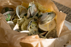 Clams and Spaghetti in Parchment (Tom Ipri) Tags: pasta clams diningin