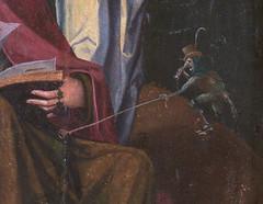 Tournehem-sur-la-Hem, Pas-de-Calais, Église Saint-Médard, painting:  St. John on the Isle of Patmos, detail (groenling) Tags: tournehemsurlahem pasdecalais hautsdefrance france fr églisesaintmédard painting peinture paint saint john jehan jean patmos pathmos devil imp gremlin thief nose horn mmiia satan diable demon démon rosary rosaire
