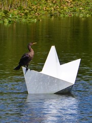 Lisle, IL, Morton Arboretum, Meadow Lake, Origami Boat Sculpture with Cormorant (Mary Warren (9.5+ million views)) Tags: lisleil mortonarboretum nature flora plants green meadowlake lake pond art sculpturre origami kevinbox fauna bird cormorant coth5
