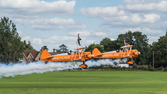 Brietling Team Wingwalkers - Old Warden (davepickettphotographer) Tags: theshuttleworthcollectionuk airshow uk oldwarden bedfordshire biggleswade gb aircraft flight shuttleworthcollection shuttleworthcollectionairshow vintage arare aviation collectionairshow brietlingteam wingwalkers stearman boeing american trainer