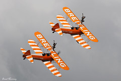 Breitling Wingwalkers (birrlad) Tags: birr airfield aircraft aviation airplane airplanes airshow airside display aerobatic team breitling wingwalkers boeing stearman n74189 sebog biplane smoke flight flypast flyby flyover flyin flying