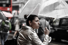 the real London look (I was blind now I see!) Tags: red bus black cab taxi umbrella rain oxford circus vehicles smoking lady woman young girl portrait bokeh gloomy central london pedestrians canon 80d 50mm f14 scene
