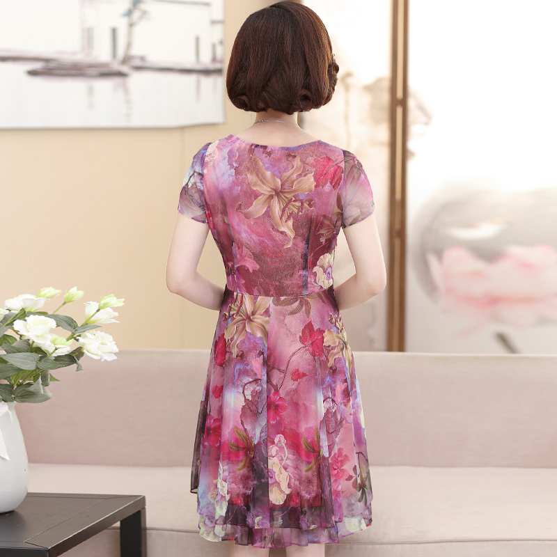 The middle-aged female summer mother elderly knee dress dignified atmosphere noble ladies chiffon skirt shorts