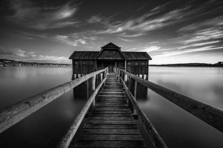Boathouse at lake Ammersee Black and White