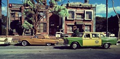 Police Department (gpholtz) Tags: diorama miniatures 118 diecast 1960 ford thunderbird checker cab taxi