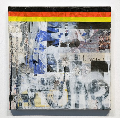 Zavier Ellis & Hendrik Zimmer 'Gold Standard: Freedom', 2017 Oil, acrylic, emulsion, spray paint, collage, mixed media on canvas 30x30cm