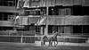 trotting cours 1 (heinzkren) Tags: trabrennbahn krieau vienna wien austria baustelle pferd horse sulky constructionarea animal rennpferd racehorse trot traben sport schwarzweis blackandwhite monochrome urban panasomic lumix architecture architektur street streetphotography kulisse hintergrund