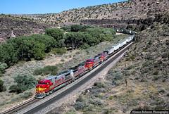 The Super Fleet in Crozier Canyon (jamesbelmont) Tags: train railroad railway locomotive santafe atsf arizona intermodal warbonnet superfleet croziercanyon valentine
