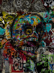 Spooky (Steve Taylor (Photography)) Tags: spooky skull owl deer sellout art graffiti streetart tag sticker pasteup wheatup wheatpaste scary eerie frightening men texture kissing teeth