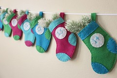 25 Day Multi-Colored Numbered Hanging Stocking Advent/Countdown (LookHappyShop) Tags: advent calendar countdown numbered pocket hanging decoration embroidered etsy lookhappy felt holiday christmas gift present handmade stocking mini fillable green aqua teal blue fuschia cute kids small