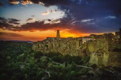 Citta del Tufo (der_peste) Tags: sunset sundown pitigliano italy tuscany maremma summer clouds sky citadeltufo sovana sorana firenze toscana siena vacation medie city medievalcity medieval tuff