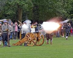 _1060361_edited-left (ksztanko) Tags: theenglishcivilwarsociety reenactors waltonhall cannonfire fire smoke