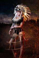 Amandine (graigue | http://www.graigue.com) Tags: graigue strasbourg alsace france indian mononoké princess smoke fumée composite amandine hannah fanny ployer gregory massat strob flash d750 gel color orange bleue