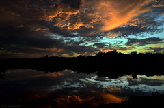 Autumn in the skies (Captions by Nica... (Fieger Photography)) Tags: sunset sunsets clouds cloud reflections reflection water landscape lake silhouettes silhouette trees nature sky skyscape quebec canada dusk