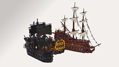 The Blowing Up of the Endeavour (W. Navarre) Tags: lego pirates caribbean potc dutchmen endeavour sinking blowing black pearl sea fight battle