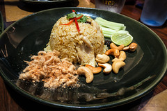Pineapple Rice (leadin2) Tags: nara 2016 bangkok canon g5 g5x powershot thailand x food nuts lime rice pineapple chicken meat floss cashew cucumber raisins