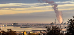 View from a bedroom window (philbarnes4) Tags: medway rainham church stmargarets nikond5500 philbarnes dslr landscape kent england view industrial isleofgrain docks cranes dockside churchtower steam