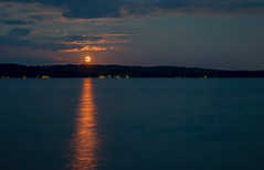I See a Bad Moon A'Rising (T P Mann Photography) Tags: moon full rise shine stream torch torchlake michigan long exposure night dark clouds landscape horizon sea seascape nature serene serenity canon eos t3i dslr digital tamron