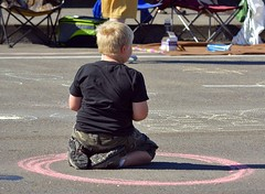 The Circle (swong95765) Tags: boy kid circle road blonde chalk lines territory