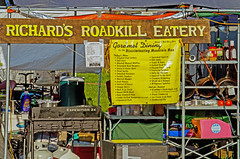 Richard's Roadkill Eatery (Fiddling Bob) Tags: campsite menu fauxhillbilly comical humor galaxoldfiddlersconvention