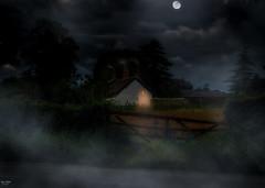 Under a full moon (Kev Walker ¦ 7 Million Views..Thank You) Tags: hale village manchester moon mist farm clouds
