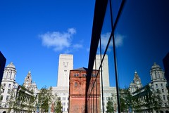 Reflections of the city (rustyruth1959) Tags: nikon nikond3200 tamron16300mm merseyside liverpool city reflections buildings thethreegraces canningdock glass sky blue outdoor symmetry royalliverbuilding cunardbuilding portofliverpoolbuilding clock clocktower roof architecture tree brick redbrickbuildling window offices liverbird