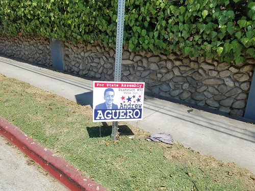 Lawn sign for Andrew Aguero in the 51st Assembly District special election primary in 2017.
