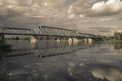 Oder - Former border Germany Poland (elisachris) Tags: oder brandenburg oderaue grenze border deutschland polen poland brücke bridge spiegelung reflection natur nature landschaft landscape industriekultur ricohgr