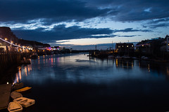 Whitby bay at Night (Owentheoptician) Tags: yorkshire northeast north east coast holiday resort staycation england uk britain bushey heath opticians owen hilton canon 650d long exposure tripod sunset lighthouse harbour bay