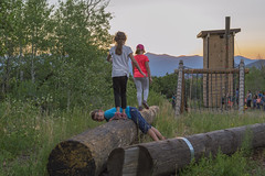 Human Obstacle on the Course (aaronrhawkins) Tags: obstacle log balance beam climbingwall aspenlakes hebercity utah family campout boy girl kids children evening summer joshua wasatch mttimpanogos sunset navigate camping mountains woods nature aaronhawkins