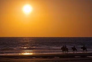 Riding towards the sun. Playa de la Barrosa. Conil.