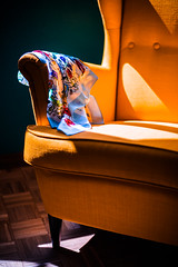 Yellow armchair. (jakub.sulima) Tags: nikon d750 nikkor 50mm 18 architecture interior inside decoration armchair furniture wood wooden floor oak colours colorful blue turquoise yellow white red green dark pale bright shadow sun sunlight sunshine sunny studio ikea style fashion comfort scarf neckerchief silk flower flowers floral pattern details internal design decor home homedecor mozaic natural light